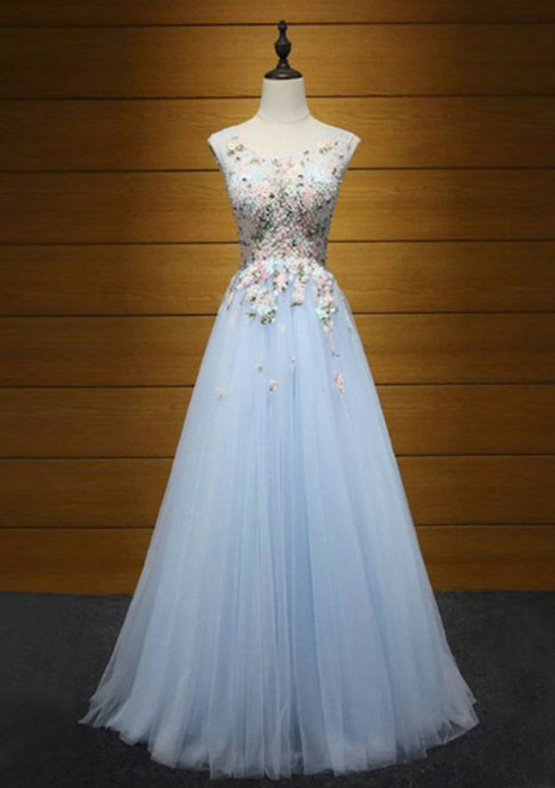 A-Line/Princess Bateau Sleeveless Long/Floor-Length Tulle Prom Dress With Appliqued Beading