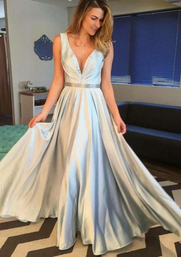 A-Line/Princess V Neck Sleeveless Long/Floor-Length Charmeuse Prom Dress With Waistband