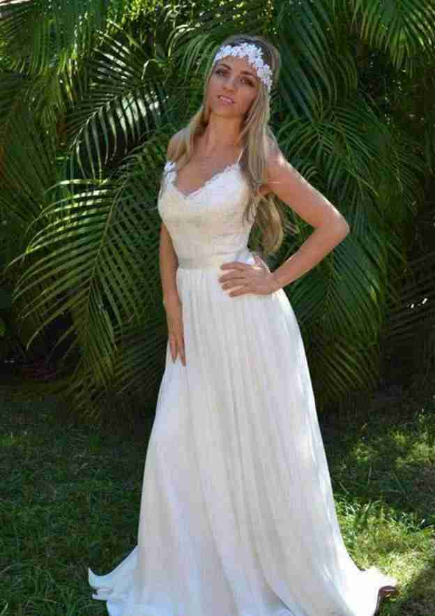 A-Line/Princess V Neck Sleeveless Sweep Train Chiffon Wedding Dress With Lace Sashes