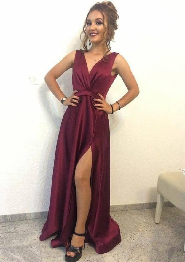 A-Line/Princess V Neck Sleeveless Long/Floor-Length Charmeuse Prom Dress With Split