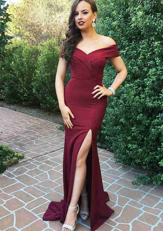Sheath/Column Off-The-Shoulder Sleeveless Sweep Train Charmeuse Prom Dress With Split