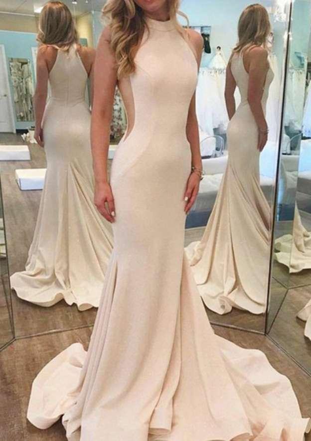 Trumpet/Mermaid Scoop Neck Sleeveless Court Train Elastic Satin Prom Dress