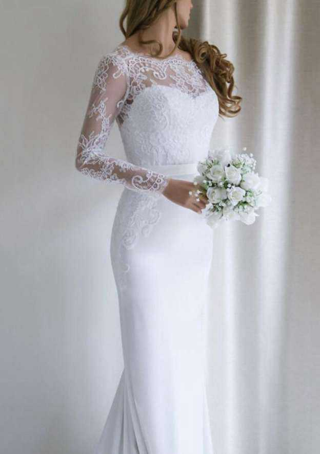 Trumpet/Mermaid Scalloped Neck Full/Long Sleeve Court Train Elastic Satin Wedding Dress With Appliqued Lace Sashes