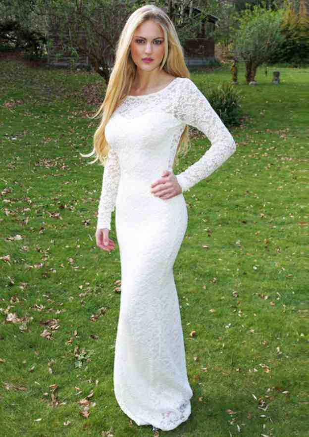 Trumpet/Mermaid Bateau Full/Long Sleeve Long/Floor-Length Lace Prom Dress