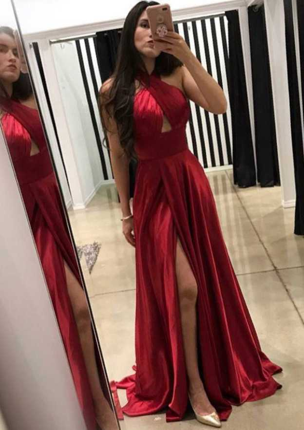 A-Line/Princess Halter Sleeveless Sweep Train Charmeuse Prom Dress With Split