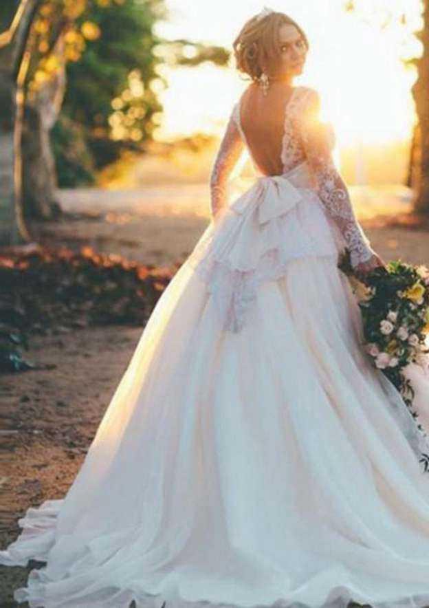 Ball Gown Bateau Full/Long Sleeve Chapel Train Chiffon Organza Wedding Dress With Lace Beading