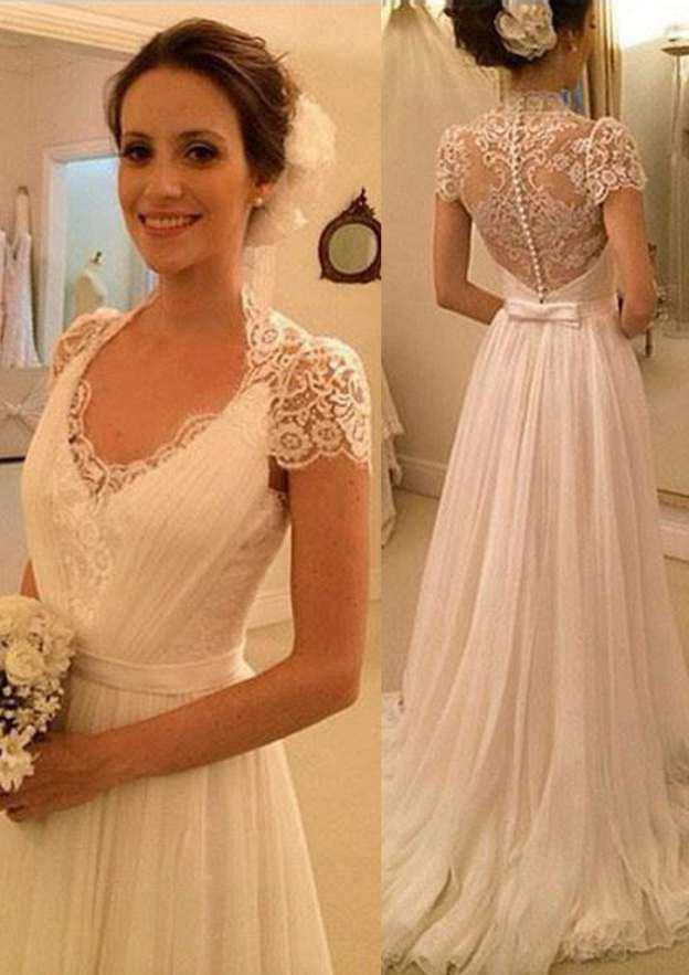 A-Line/Princess Scalloped Neck Sleeveless Sweep Train Chiffon Wedding Dress With Appliqued Bowknot Sashes