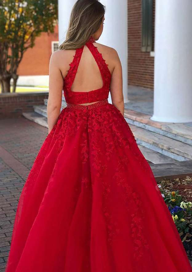A-Line/Princess High-Neck Sleeveless Long/Floor-Length Tulle Prom Dress With Appliqued