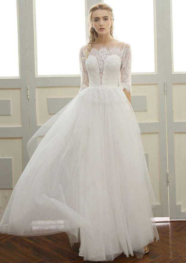 A-Line/Princess Scoop Neck Half Sleeve Long/Floor-Length Tulle Wedding Dress With Lace