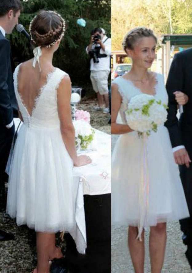 A-Line/Princess V Neck Sleeveless Knee-Length Tulle Wedding Dress With Lace