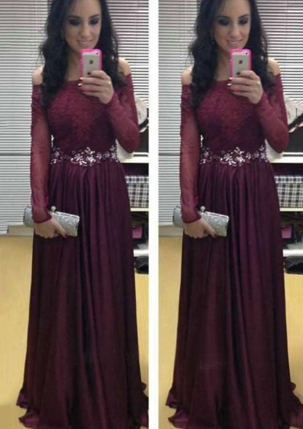 A-Line/Princess Off-The-Shoulder Full/Long Sleeve Long/Floor-Length Chiffon Prom Dress With Appliqued Waistband