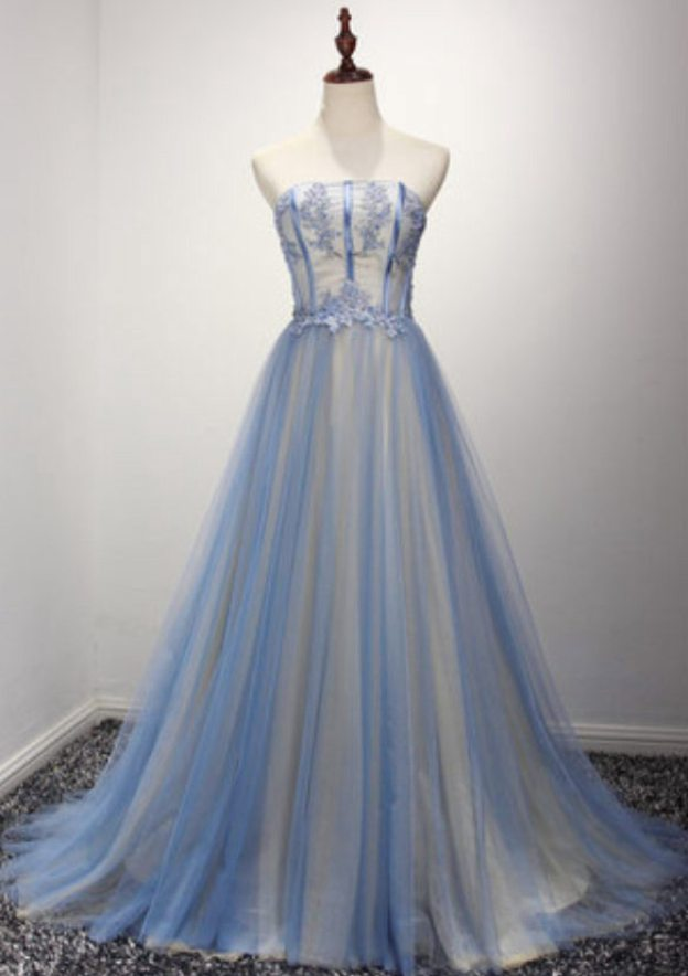 A-Line/Princess Strapless Sleeveless Court Train Tulle Prom Dress With Lace