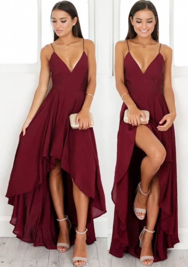 A-Line/Princess V Neck Sleeveless Asymmetrical Chiffon Prom Dress
