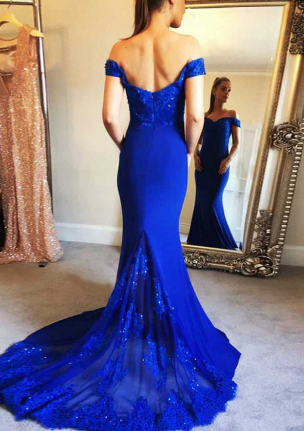 Trumpet/Mermaid Off-The-Shoulder Sleeveless Court Train Elastic Satin Evening Dress With Beading Appliqued