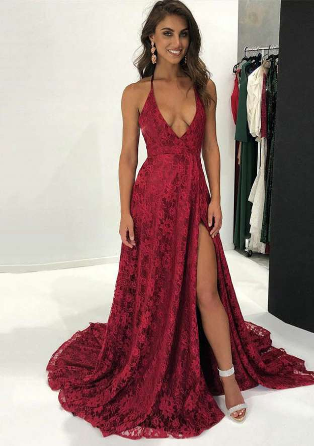 A-Line/Princess Halter Sleeveless Court Train Lace Evening Dress With Split