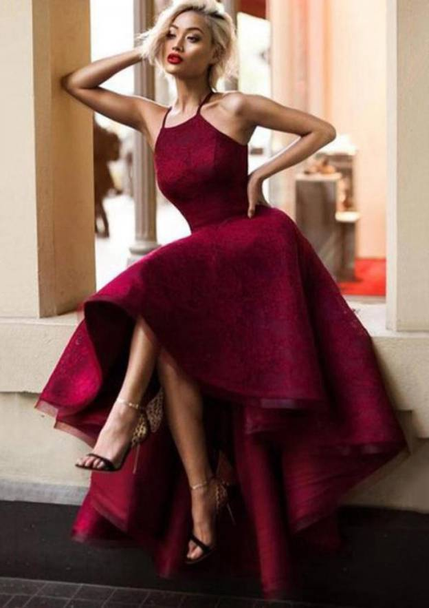 Ball Gown Square Neckline Sleeveless Asymmetrical Prom Dress With Lace