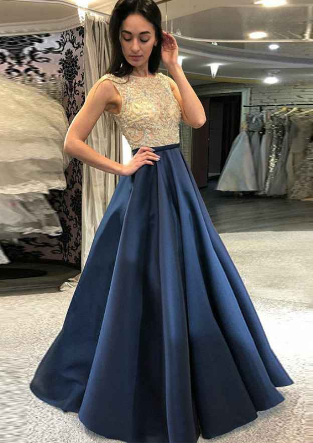 A-Line/Princess Scoop Neck Sleeveless Long/Floor-Length Charmeuse Prom Dress With Beading