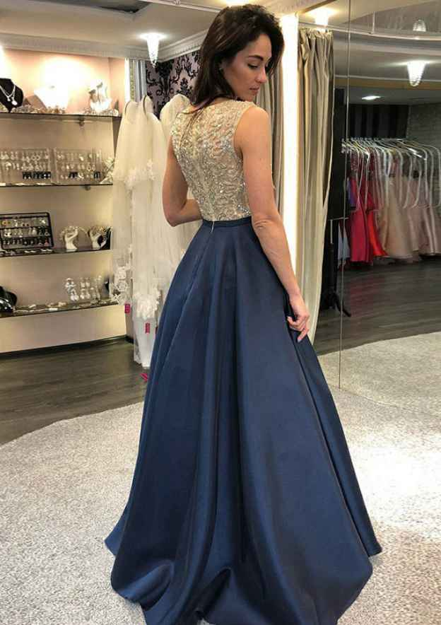 A-Line/Princess Scoop Neck Sleeveless Long/Floor-Length Satin Prom Dress With Beading