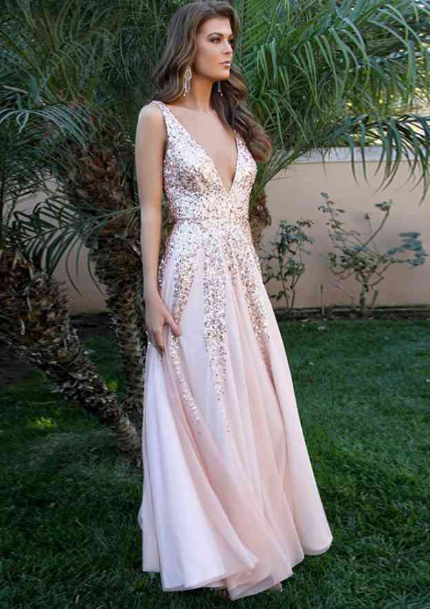 A-Line/Princess V Neck Sleeveless Long/Floor-Length Tulle Prom Dress With Sequins