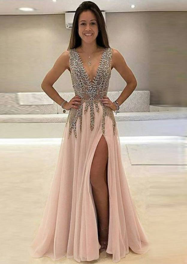 A-Line/Princess V Neck Sleeveless Long/Floor-Length Chiffon Prom Dress With Split Beading Appliqued