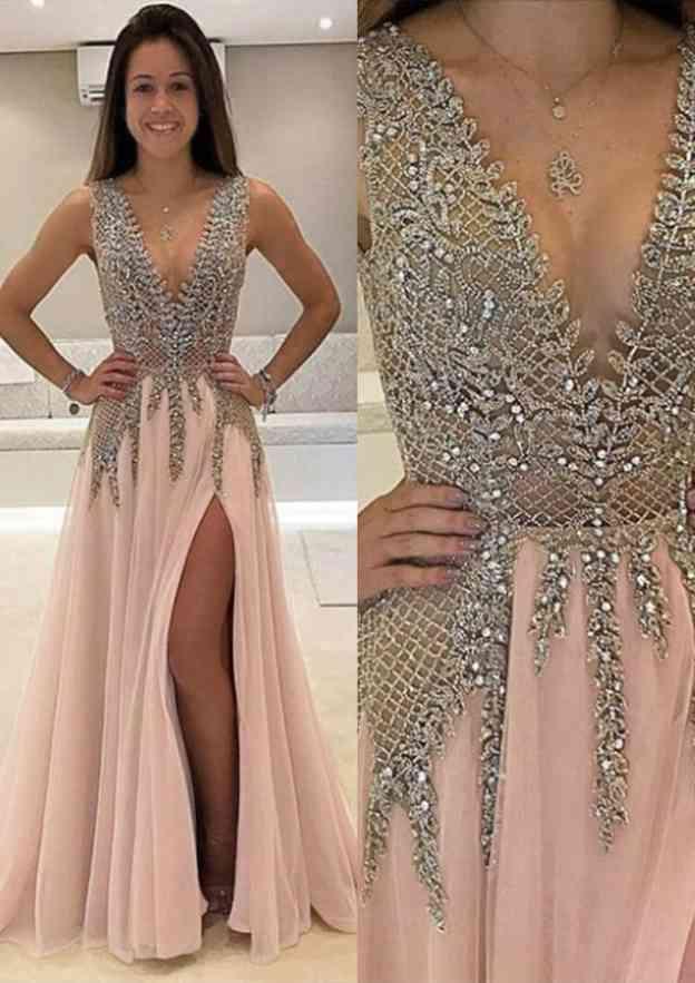 A-Line/Princess V Neck Sleeveless Long/Floor-Length Chiffon Prom Dress With Split Beading Appliqued