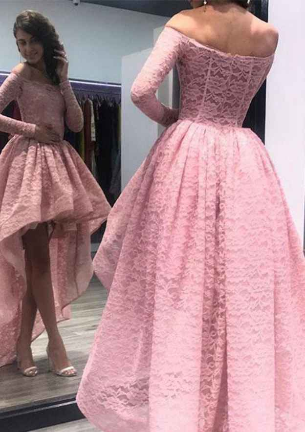 Ball Gown Off-The-Shoulder Full/Long Sleeve Asymmetrical Lace Prom Dress