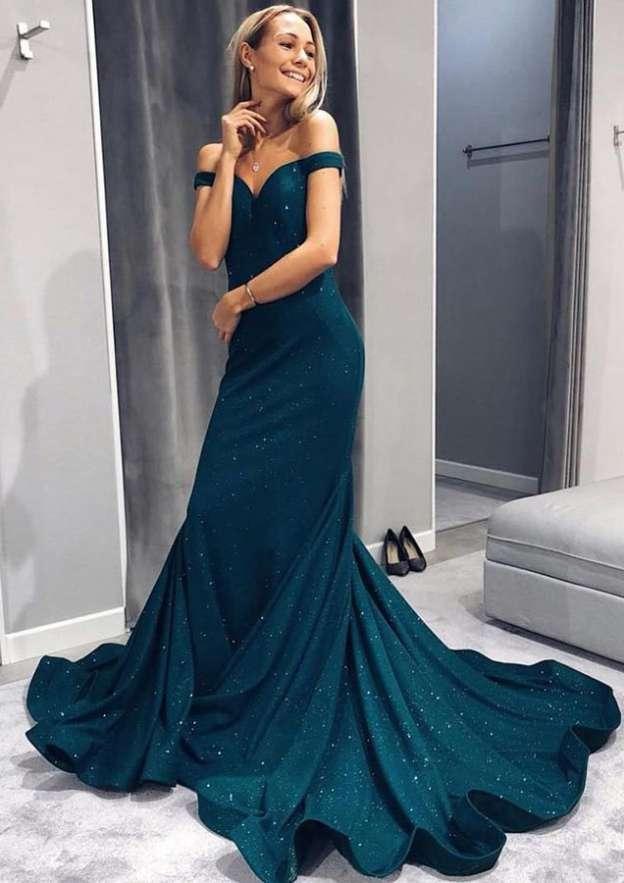Sheath/Column Off-The-Shoulder Sleeveless Chapel Train Lace Evening Dress