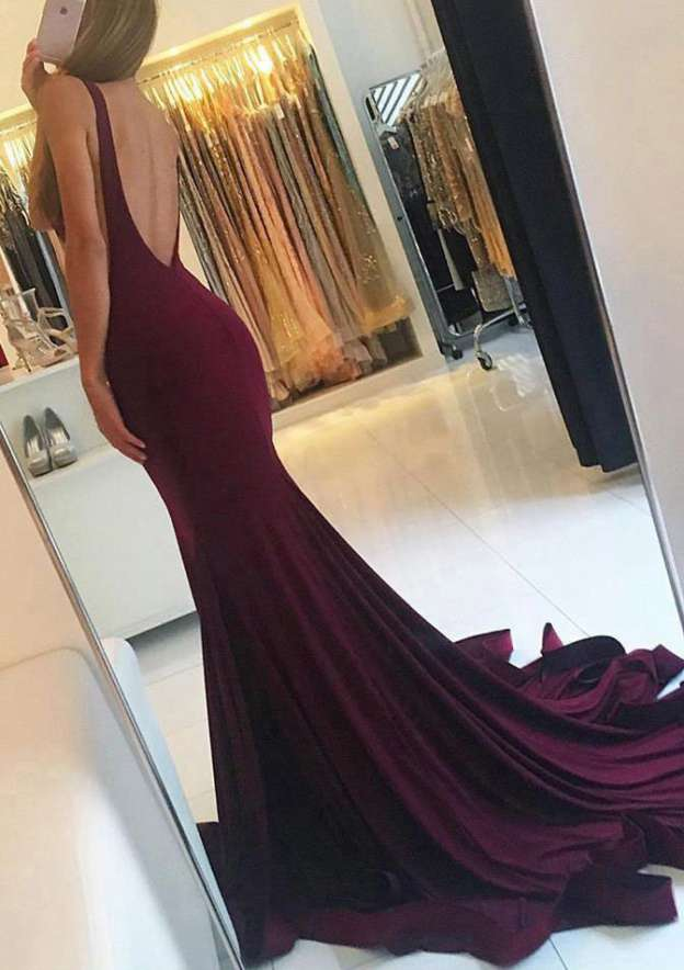 Trumpet/Mermaid Bateau Sleeveless Sweep Train Jersey Prom Dress With Pleated