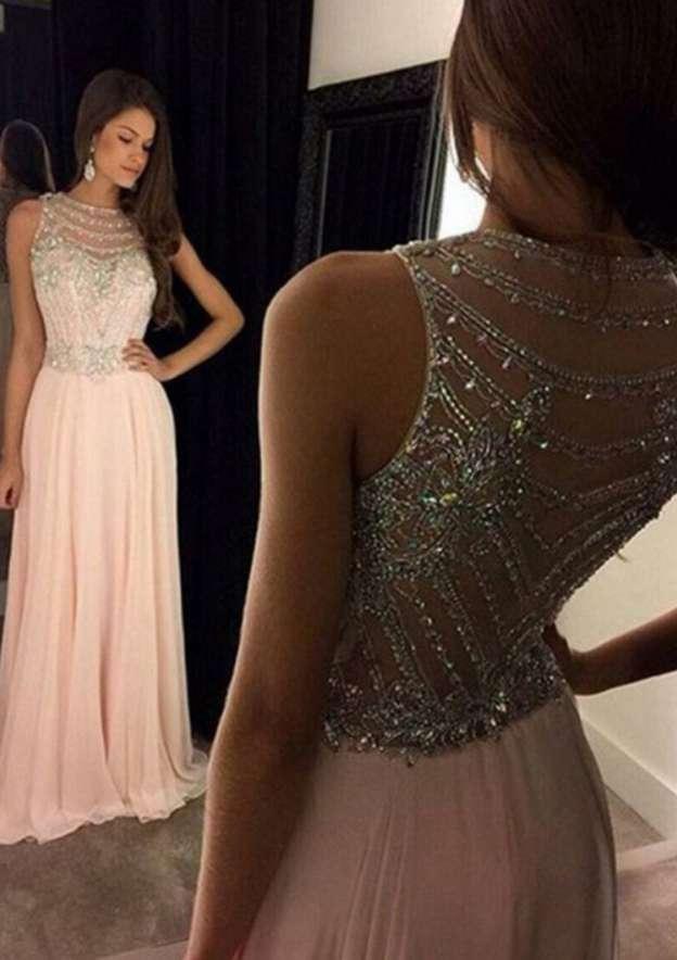 A-Line/Princess Bateau Sleeveless Long/Floor-Length Chiffon Prom Dress With Crystal Beading