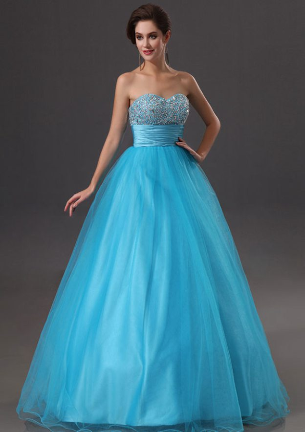 Ball Gown Sweetheart Sleeveless Long/Floor-Length Tulle Prom Dress With Sequins Crystal Pleated