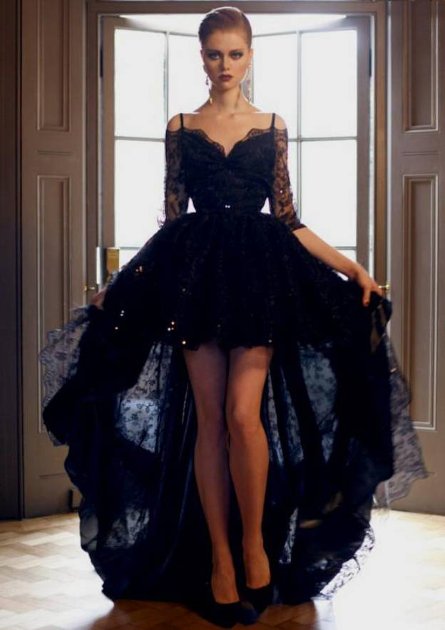 Ball Gown Scalloped Neck Half Sleeve Asymmetrical Lace Prom Dress With Beading