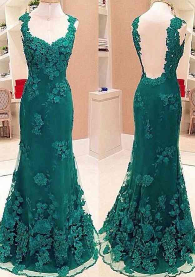 Sheath/Column Bateau Sleeveless Sweep Train Lace Prom Dress With Appliqued