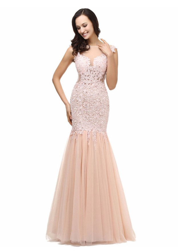 Sheath/Column Bateau Sleeveless Long/Floor-Length Tulle Prom Dress With Lace