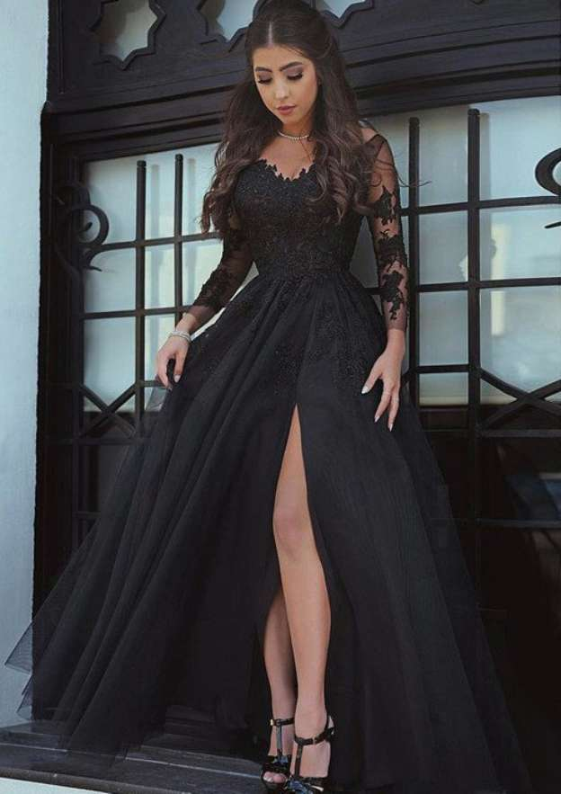 A-Line/Princess Scalloped Neck Full/Long Sleeve Long/Floor-Length Tulle Prom Dress With Split Appliqued