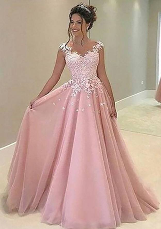 Ball Gown Sleeveless Sweep Train Tulle Prom Dress With Appliqued