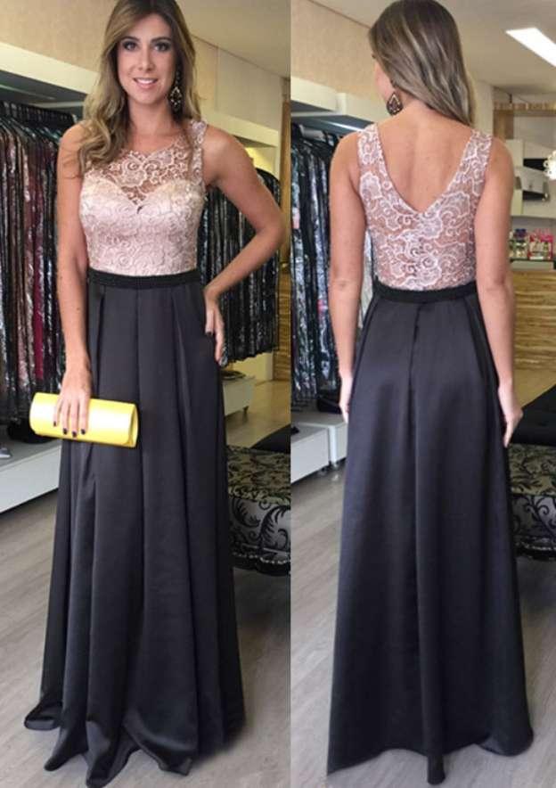 A-Line/Princess Bateau Sleeveless Long/Floor-Length Satin Prom Dress With Lace
