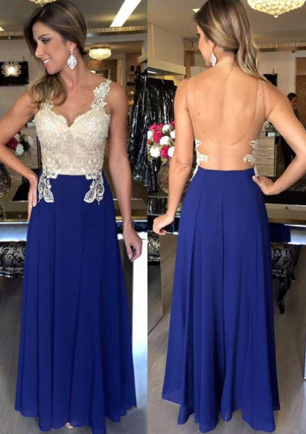 A-Line/Princess Bateau Sleeveless Long/Floor-Length Chiffon Prom Dress With Appliqued