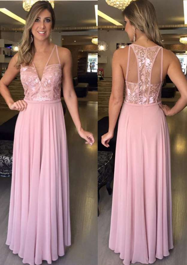 A-Line/Princess V Neck Sleeveless Long/Floor-Length Chiffon Prom Dress With Appliqued