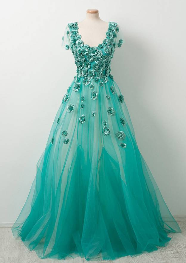 A-Line/Princess Scoop Neck Short Sleeve Long/Floor-Length Tulle Prom Dress With Flowers