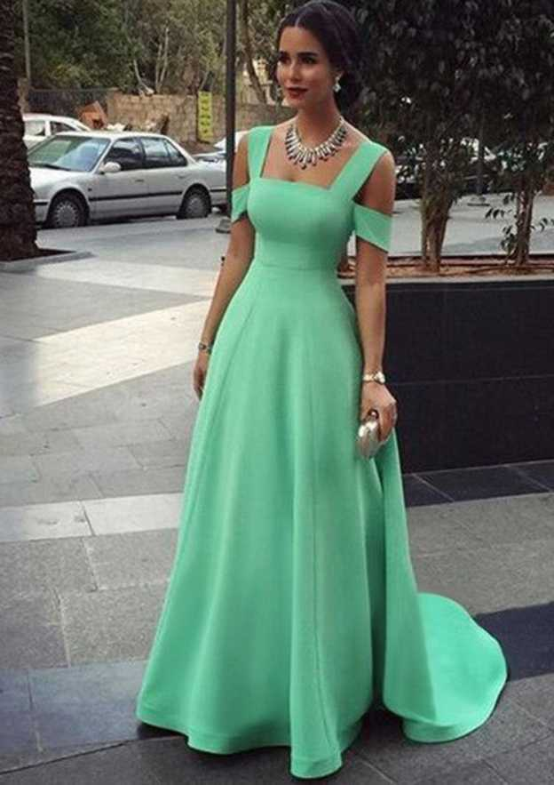 A-Line/Princess Square Neckline Sleeveless Court Train Elastic Satin Prom Dress