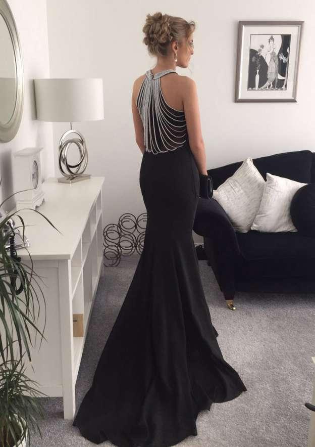 Trumpet/Mermaid Halter Sleeveless Court Train Jersey Prom Dress