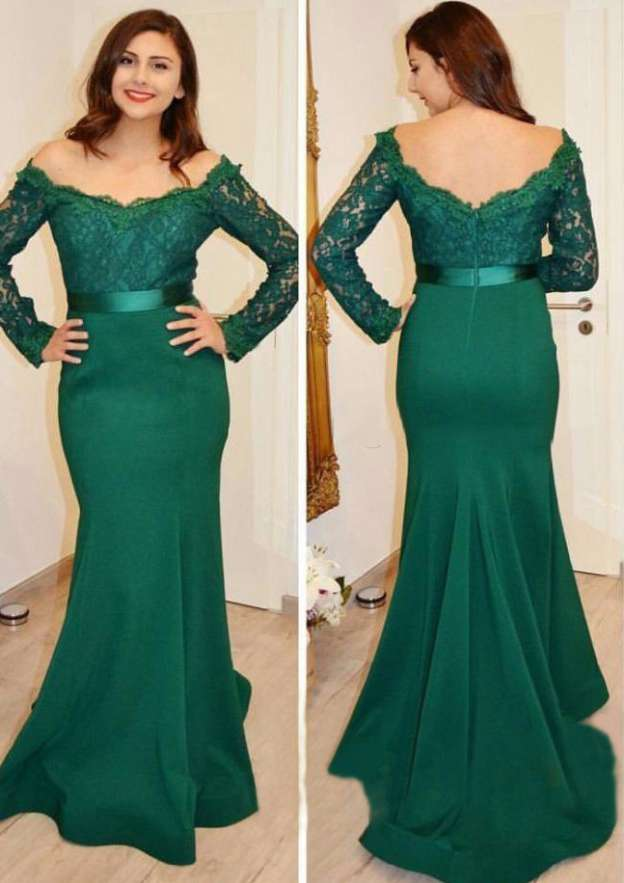 Trumpet/Mermaid Off-The-Shoulder Full/Long Sleeve Sweep Train Satin Prom Dress With Sashes Appliqued Lace