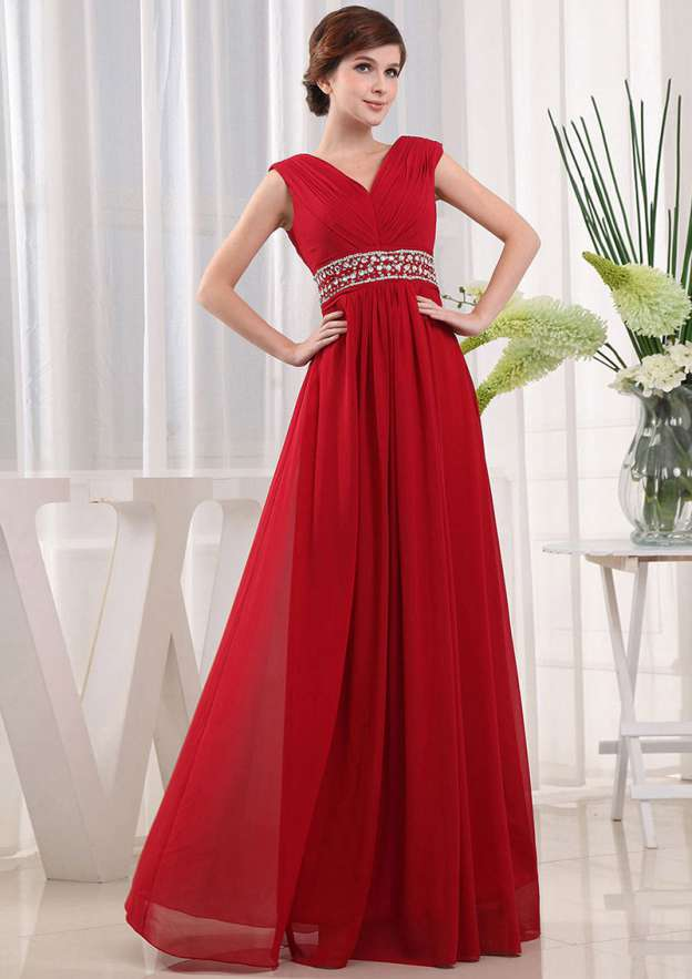 A-Line/Princess V Neck Sleeveless Long/Floor-Length Chiffon Prom Dress With Crystal Pleated