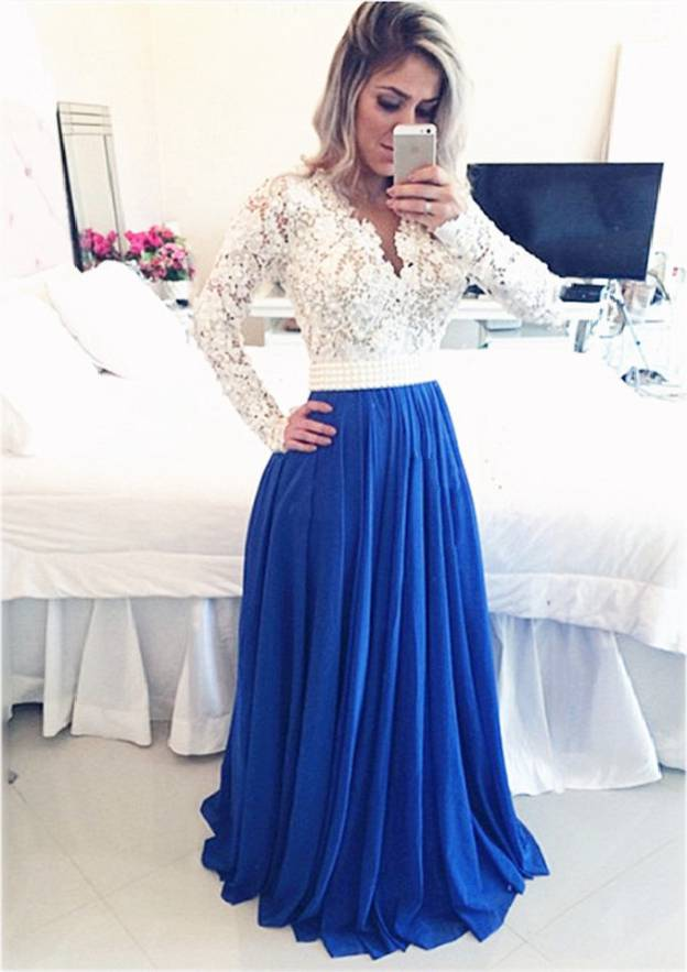 A-Line/Princess Scalloped Neck Full/Long Sleeve Sweep Train Chiffon Prom Dress With Lace Beading