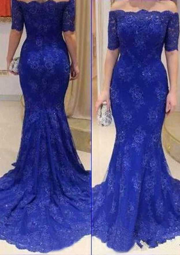 Trumpet/Mermaid Off-The-Shoulder Half Sleeve Court Train Lace Prom Dress With Appliqued