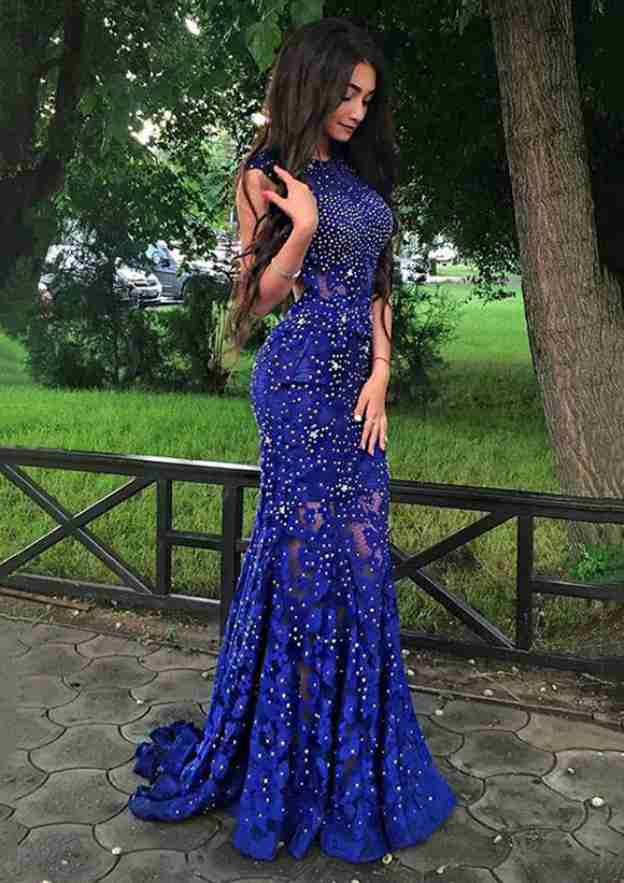 Trumpet/Mermaid Scoop Neck Sleeveless Sweep Train Lace Prom Dress With Beading