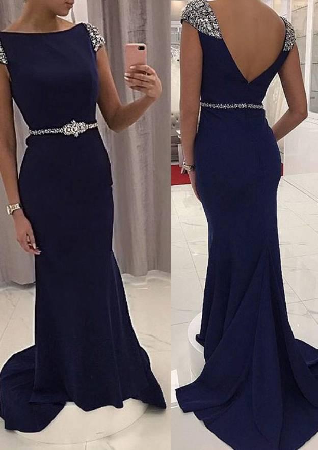 Sheath/Column Bateau Sleeveless Sweep Train Jersey Prom Dress With Crystal