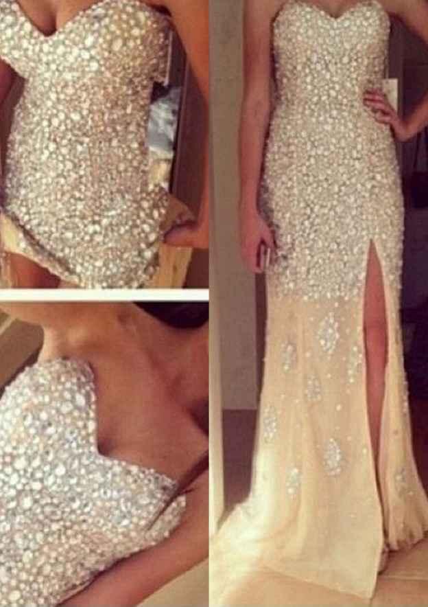 Sheath/Column Sweetheart Sleeveless Sweep Train Chiffon Prom Dress With Rhinestone Split