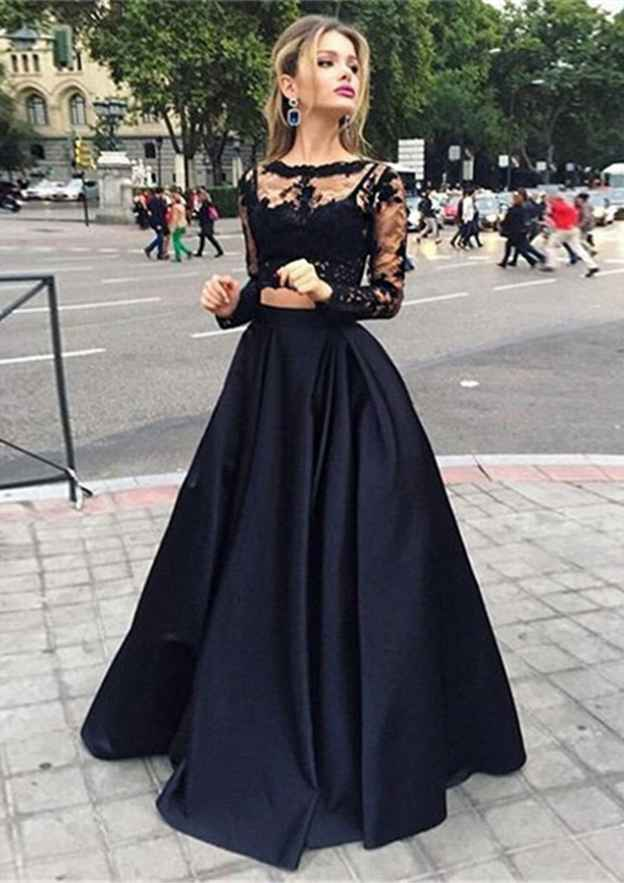 Ball Gown Bateau Full/Long Sleeve Long/Floor-Length Satin Prom Dress With Appliqued