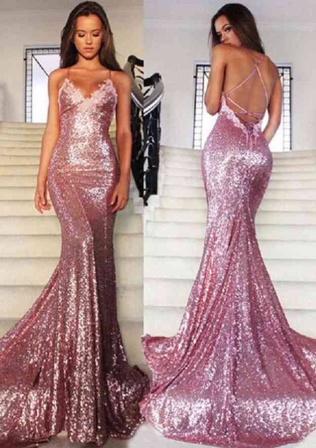 Trumpet/Mermaid V Neck Sleeveless Court Train Sequined Prom Dress